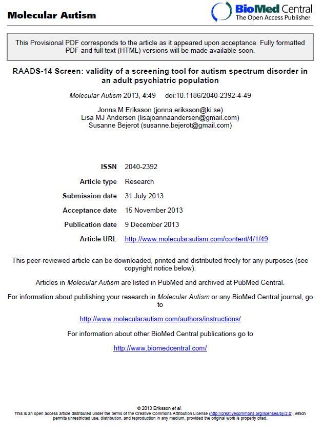 RAADS-14 Screen, au format PDF (cliquez pour ouvrir)