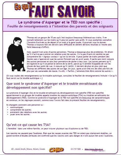 le syndrome d asperger et le ted non sp cifi feuille de renseignements l intention des. Black Bedroom Furniture Sets. Home Design Ideas