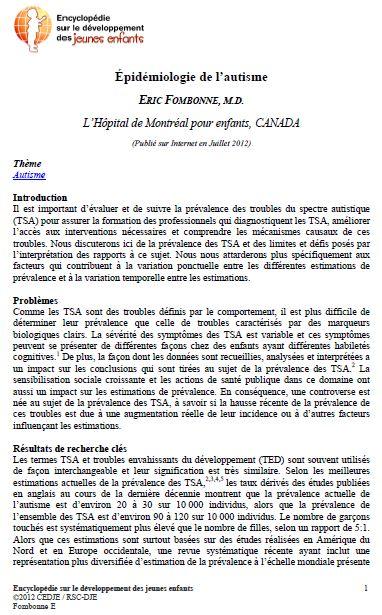Étude épidémiologique de l'autisme, Fombonne (cliquez pour ouvrir, au format PDF)