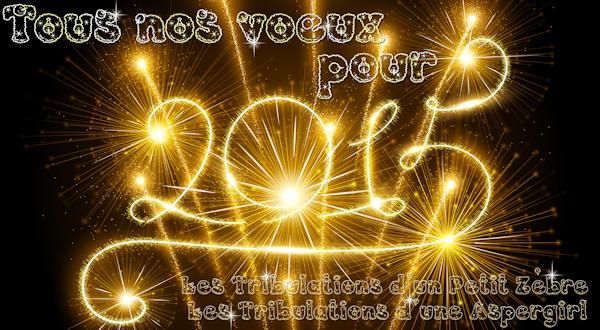 Nos vœux les meilleurs, de la part des Tribulations d'un Petit Zèbre & des Tribulations d'une Aspergirl ! Que 2015 vous apporte tout ce dont vous rêvez :D