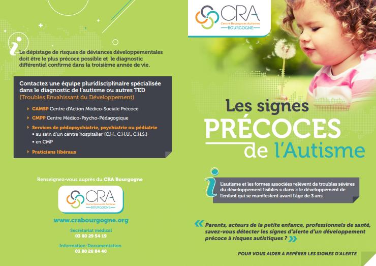 Les signes précoces de l'autisme, par le CRA de Bourgogne (cliquez pour ouvrir, au format PDF)