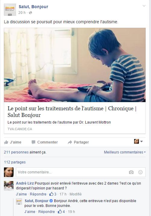 Le Dr Laurent Mottron répond à Nathalie Champoux sur TVA